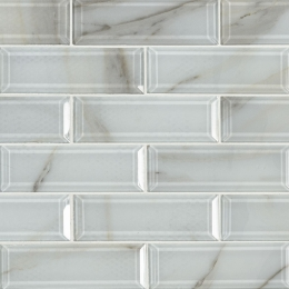 Ivory Amber Beveled Subway - 12X12