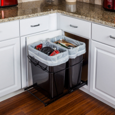 Black Double Pull Out Waste Container System