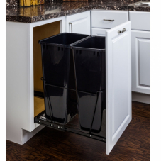 Polished Chrome Double Pull Out Waste Container System