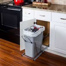 Polished Chrome Single Pull Out Trash Can System