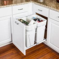 White Double Pull Out Waste Container System