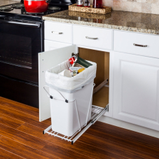 White Single Pull Out Waste Container System