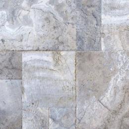 Silver Travertine - Brushed, Chiseled, Honed, Unfilled - 8X8 (4 pcs), 8X16 (2 pcs), 16X16 (4 pcs), 16X24 (2pcs) - Pattern