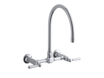 Hirise Stainless Wall Mount Bridge Kitchen Sink Faucet-7338-4-S