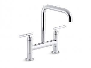 Purist Deck Mount Bridge Kitchen Faucet - 7547-4-CP