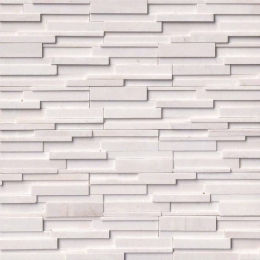 Arctic White 3D Honed - Marble - Panel - 6X24, Corner - 6X12X6, 6X18X6