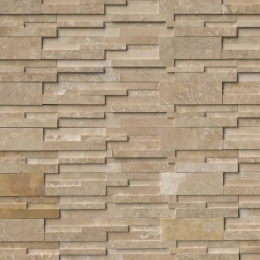 Durango Cream 3D Honed - Travertine - Panel - 6X24, Corner - 6X12X6, 6X18X6