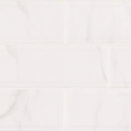 White Carrara Glossy Beveled - Ceramic - Glossy - 4X16