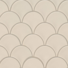 Almond Glossy Fish Scale Mosaic - Porcelain - Glossy - 12X12