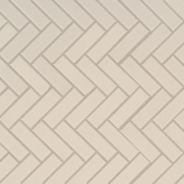 Almond Glossy Herringbone Mosaic - Porcelain - Glossy - 12X12