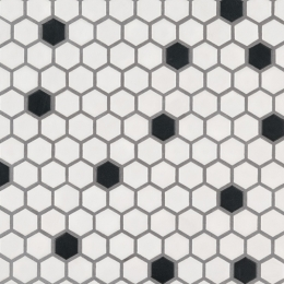 Black and White Hexagon Matte - Porcelain - Matte - 12X12