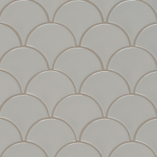 Gray Glossy Fish Scale Mosaic - Porcelain - Glossy - 12X12