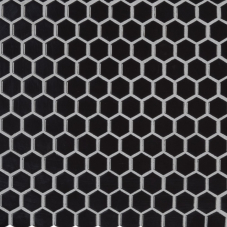 Retro Nero Hexagon Glossy - Porcelain - Glossy - 12X12