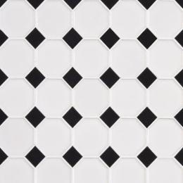 Retro Octagon Bianco Glossy - Porcelain - Glossy - 12X12