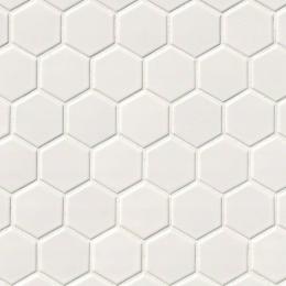 White Glossy Hexagon Mosaic 2X2 - Porcelain - Glossy - 12X12