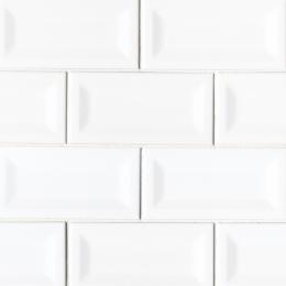 White Glossy Inverted Beveled  - Ceramic - Glossy - 3X6