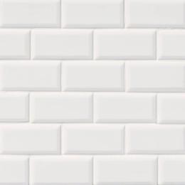 White Glossy Subway Beveled 2X4 - Porcelain - Glossy - 12X12