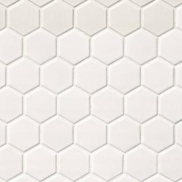 White Matte Hexagon Mosaic 2X2 - Porcelain - Matte - 12X12