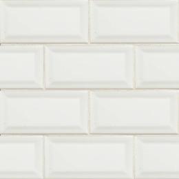 White Subway Beveled  - Ceramic - Glossy - 3X6