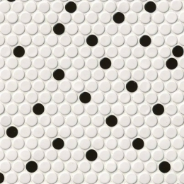 White and Black Glossy Penny Round - Porcelain - Glossy - 12X12