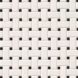 White and Black Matte Basket Weave Mosaic - Porcelain - Matte - 12X12