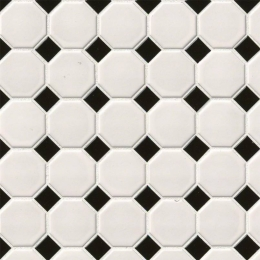 White and Black Matte Octagon - Porcelain - Matte - 12X12
