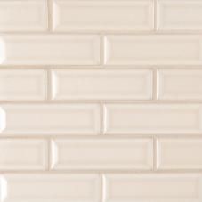 Antique White Beveled - Ceramic - Glossy - 2X6