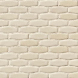 Antique White Elongated Hexagon - Ceramic - Glossy - 12X12