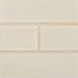 Antique White Glazed Handcrafted - Ceramic - Glossy - 4X12