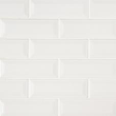 Whisper White Beveled - Ceramic - Glossy - 2X6