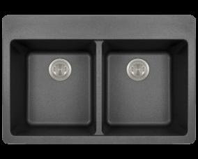 Black Double Equal Bowl Topmount-T802