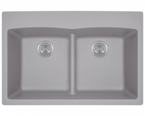 Silver Double Equal Bowl Low Divide Topmount-T812