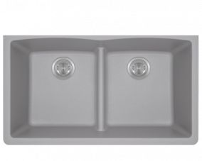 Silver Double Equal Bowl Low Divide Undermount-812