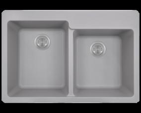 Silver Double Offset Bowl Topmount-T801