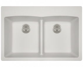 White Double Equal Bowl Low Divide Topmount-T812