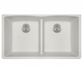 White Double Equal Bowl Low Divide Undermount - 812