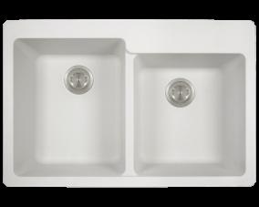 White Double Offset Bowl Topmount-T801